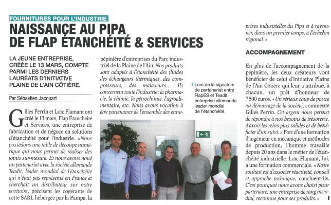 Extrait du journal local « ECO DE L'AIN »